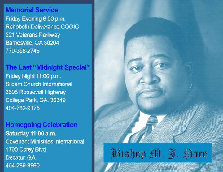 Homegoing Service Schedule For Bishop Murphy Pace Iii Of